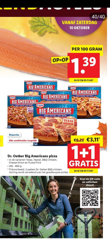 Lidl 1+1 gratis Dr. Oetker Big Americans pizza