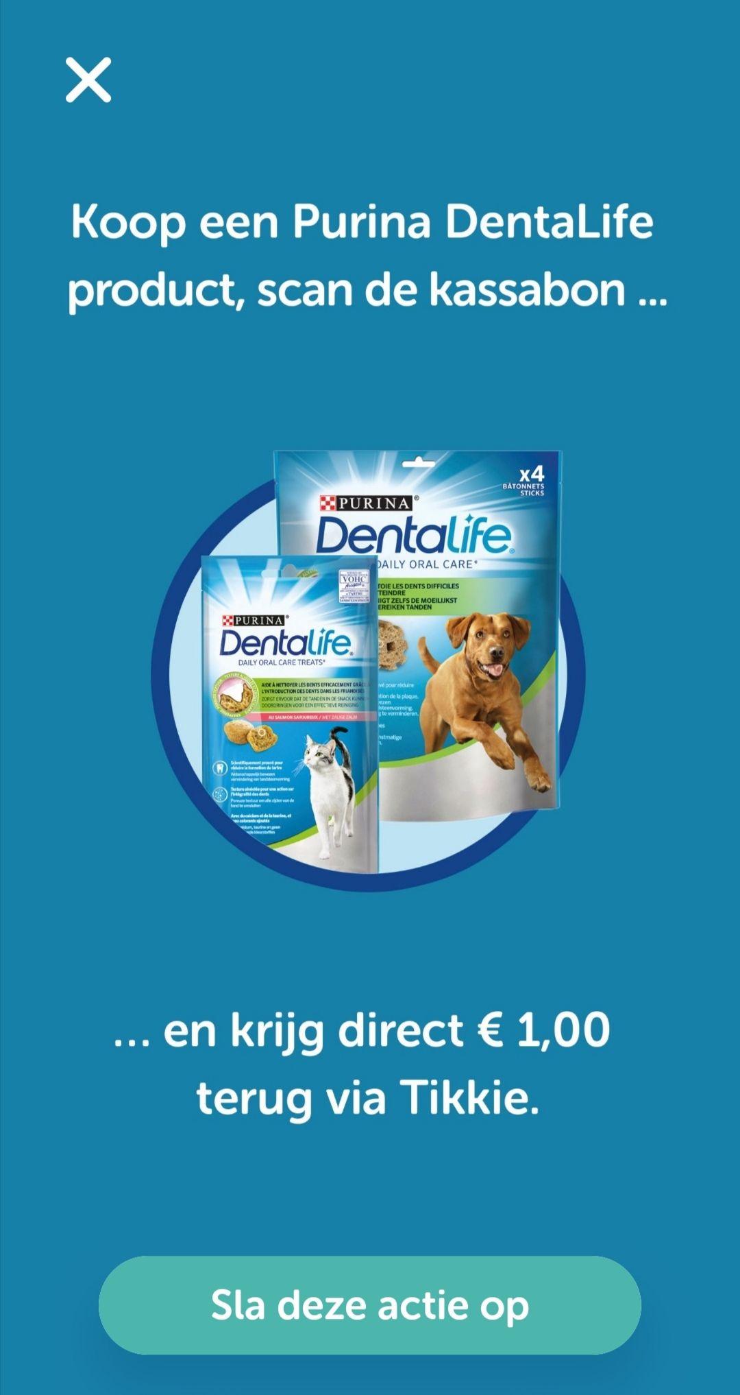 €1 Cashback op Purina Dentalife met Tikkie