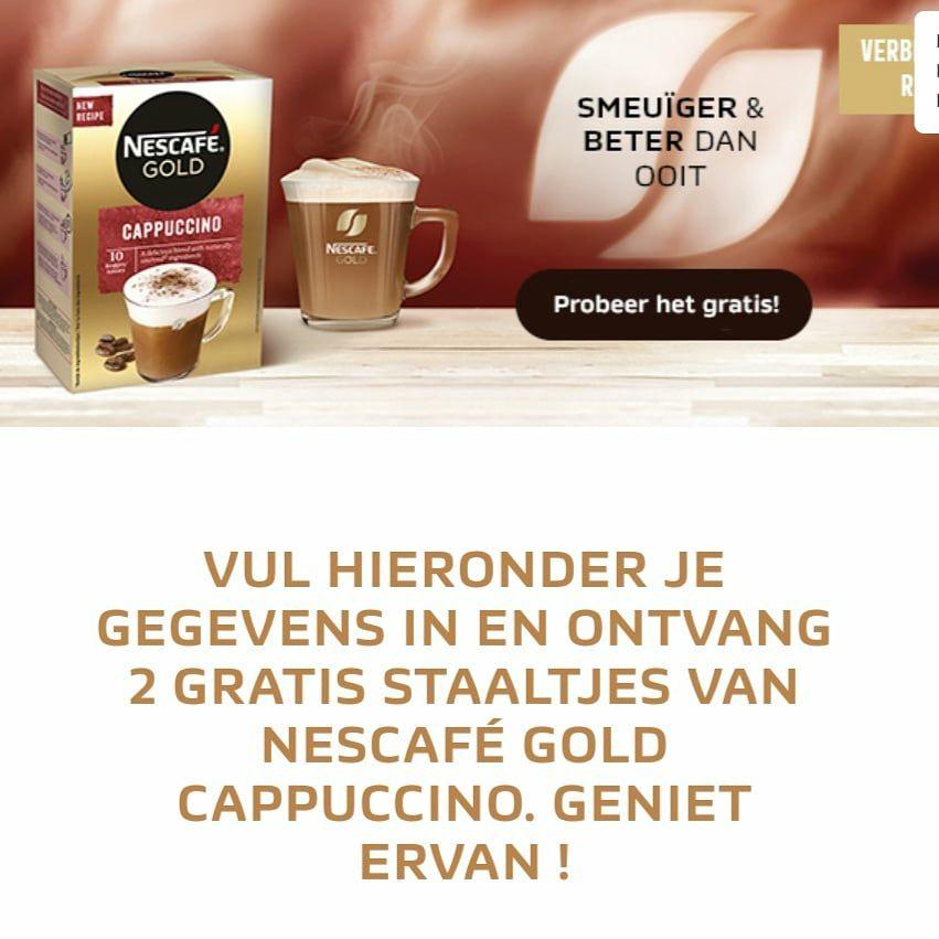 (BE) Gratis staaltjes Nescafé Gold Cappuccino