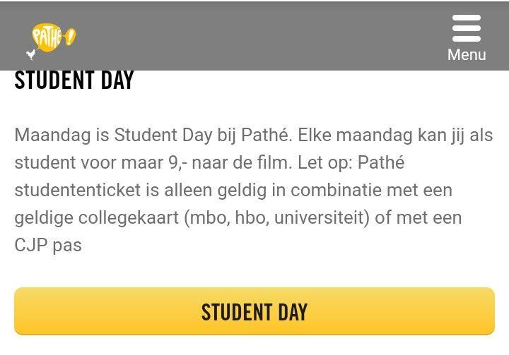 Maandag Student Day bij Pathé