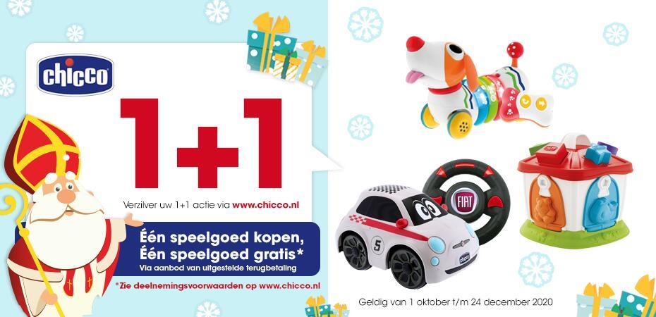 1+1 gratis cashback actie op speelgoed @ Chicco