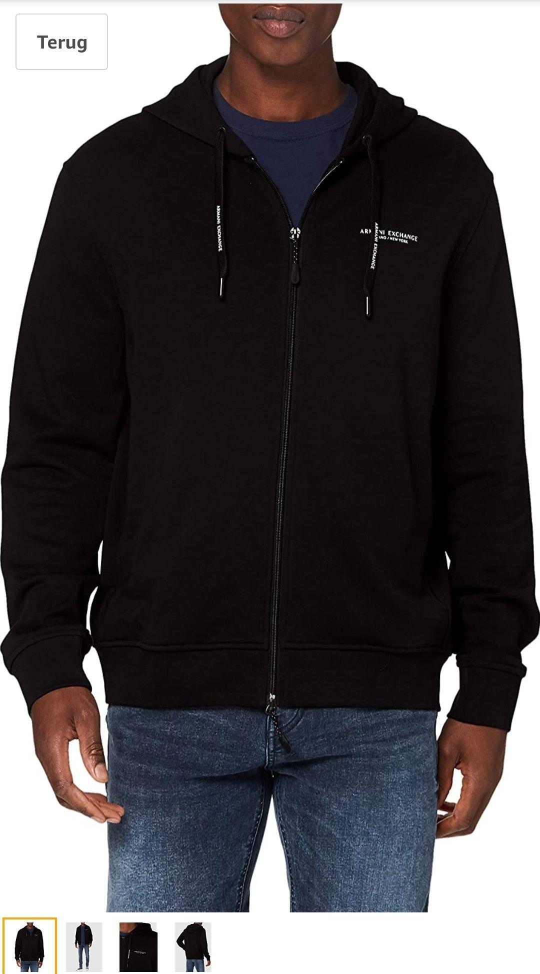 Armani Exchange Heren Zip up Hooded Sweatshirt (Black)