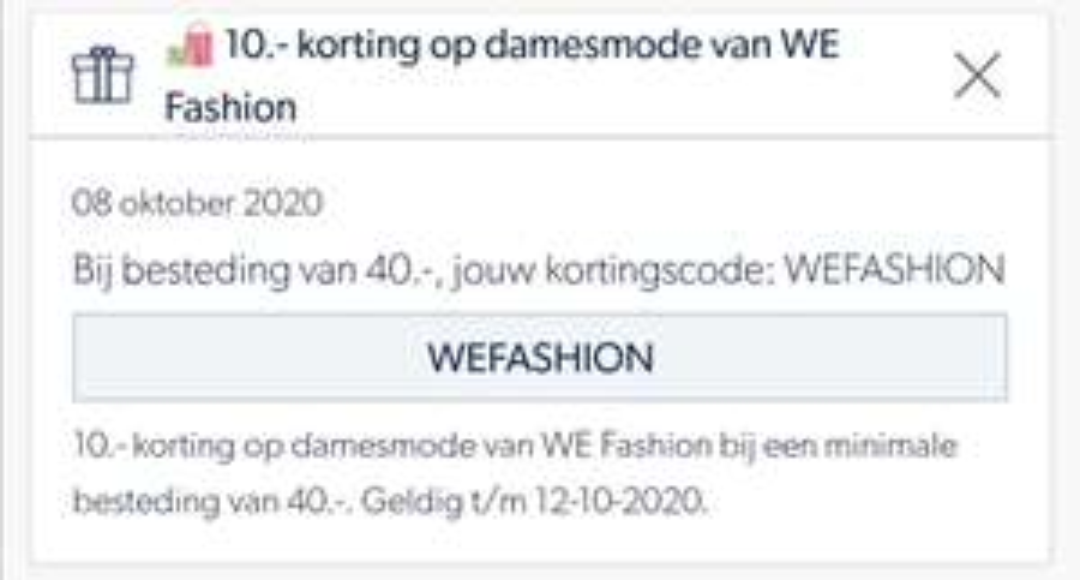 € 10 korting bij besteding van € 40 op WE Fashion Damesmode @ Wehkamp