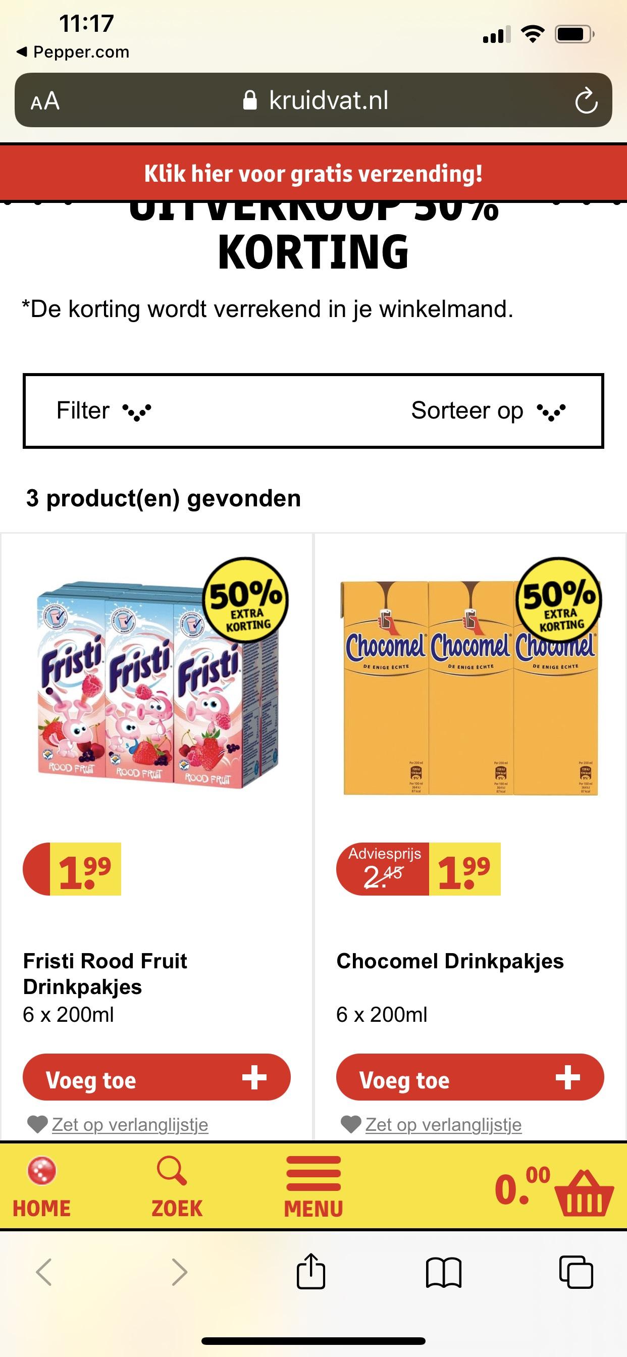 Chocomel(uitverkocht) en fristi 1 euro 6x200ml