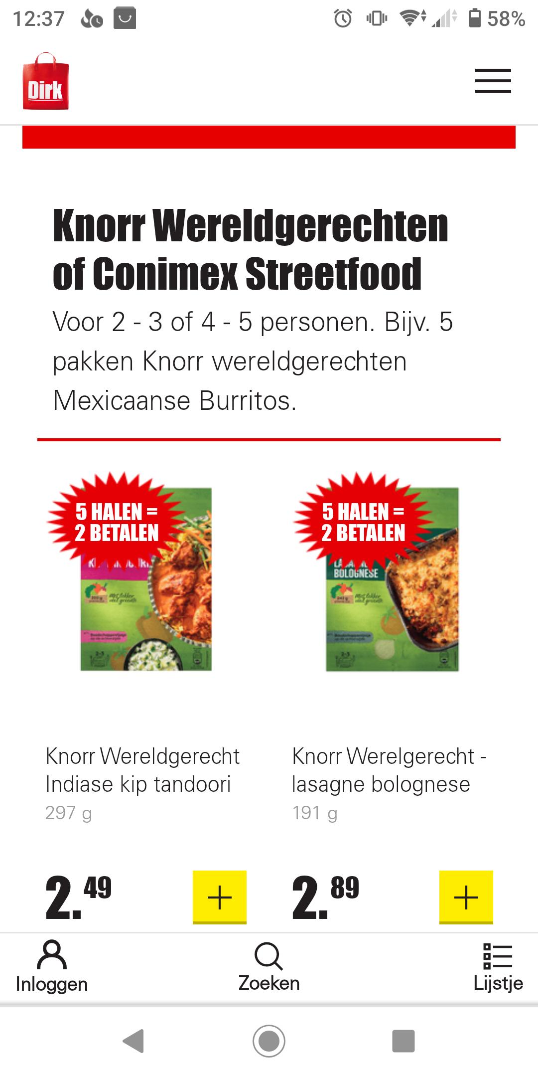 Knorr Wereldgerechten en Conimex Streetfood, 5 halen 2 betalen @ Dirk