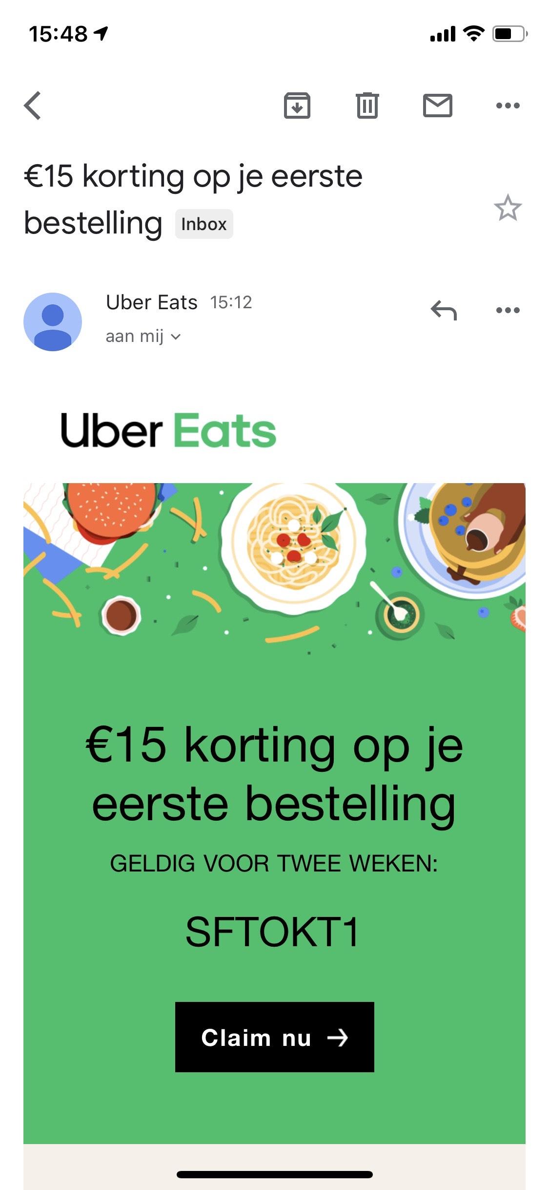 T.w.v. 100 euro Uber Eats bestellen en slechts 25 euro betalen