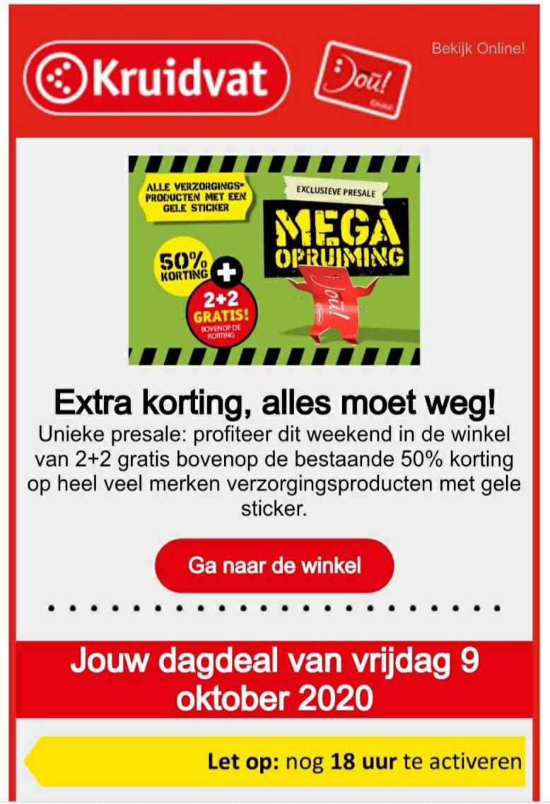 Kruidvat - 2+2 gratis bovenop bestaande 50% korting op verzorgingsproducten met gele sticker
