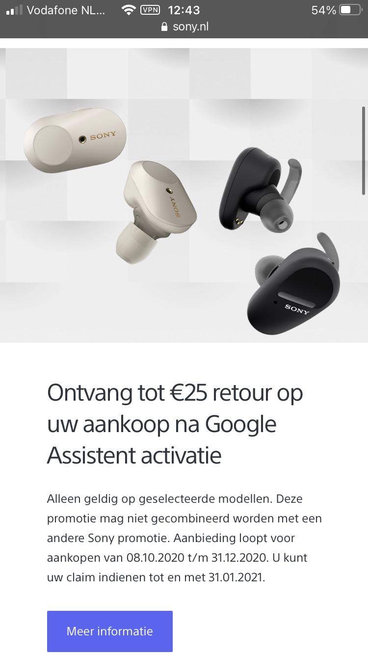 Sony cashback - €25 korting op WF-1000XM3