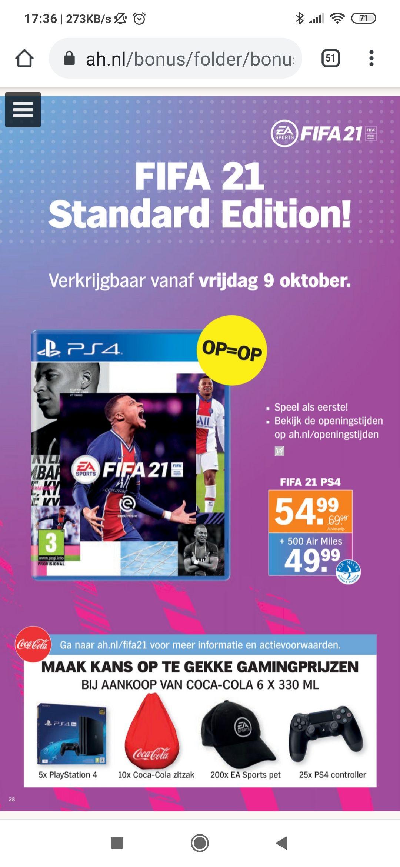 FIFA 21 47 euro bij de AH na 500 airmiles en door de 6% cashback van de koopzegels - folder pagina 28
