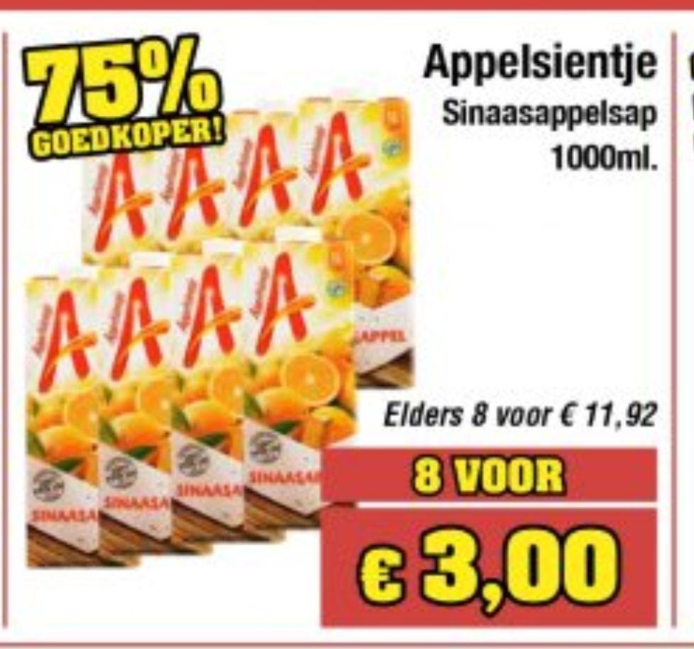 Appelsientje 1L. 8 voor 3 euro @Budget-food