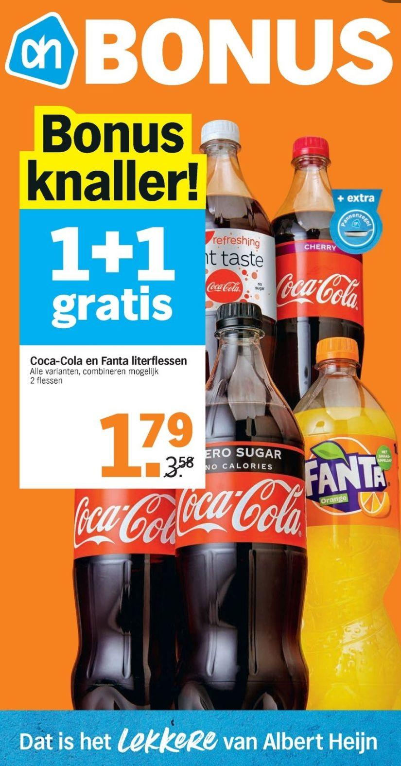[ACTIEF] Coca Cola en Fanta liter flessen - 1+1 gratis!