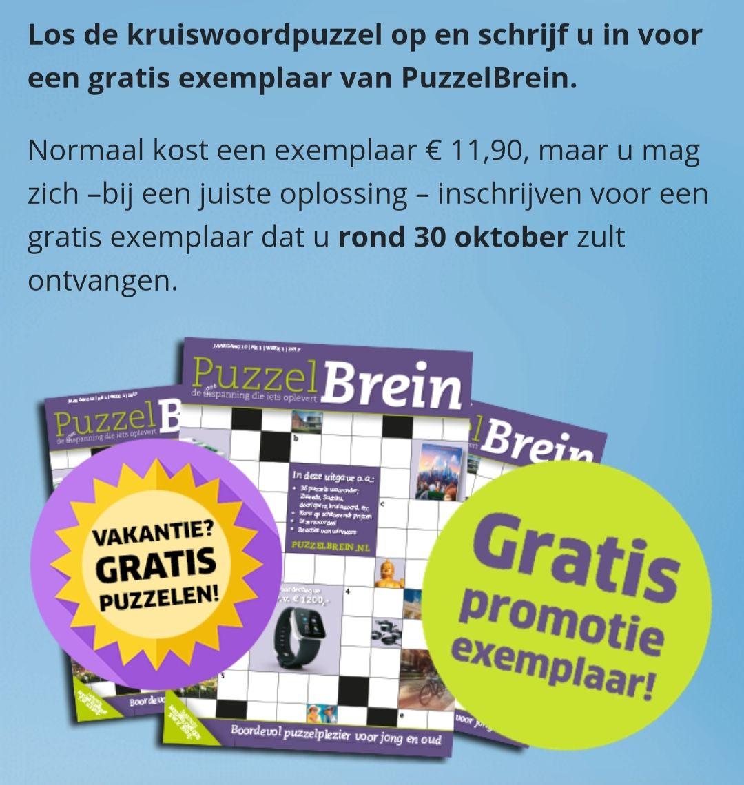 Gratis puzzel BREIN exemplaar t.w.v €11.90