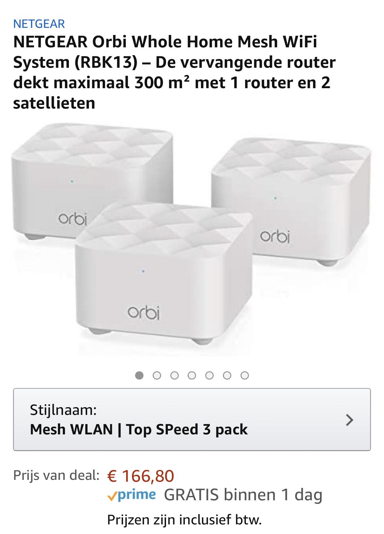 NETGEAR Orbi Whole Home Mesh WiFi System (RBK13) – 3 pack