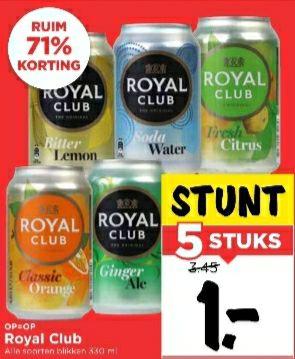 5 blikjes Royal Club voor 1 euro! (Vomar)