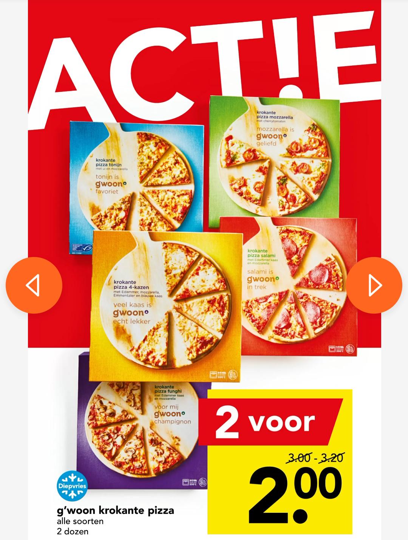 G'woon krokante pizza 2 voor €2,00 @ Deen