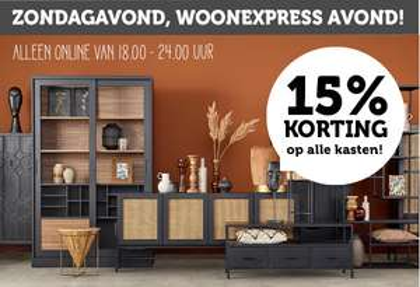 WoonExpress - 15% op alle kasten (vanaf 18:00 -23:59)