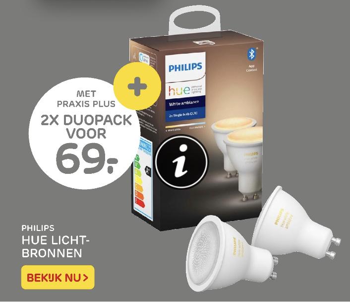 2x 2-pack Hue GU10 white Ambiance Bluetooth