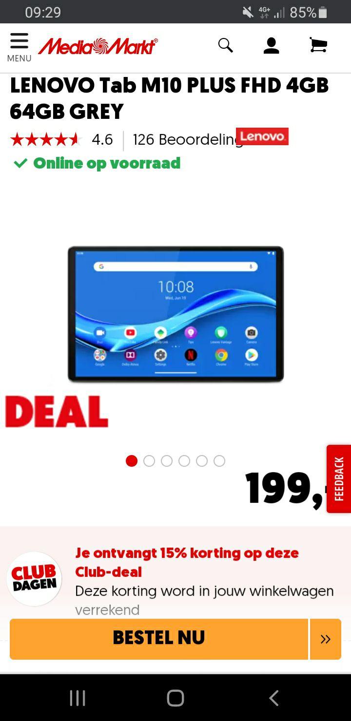 LENOVO Tab M10 PLUS FHD 4GB 64GB voor €150