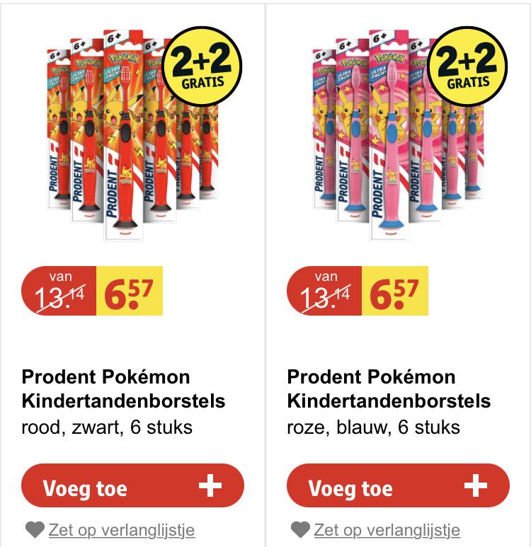 Prodent pokemon kindertandenborstels voordeelverpakking! €13,14 [kruidvat]