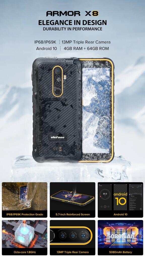 Robuuste Waterdichte Smartphone Ulefone Armor X8
