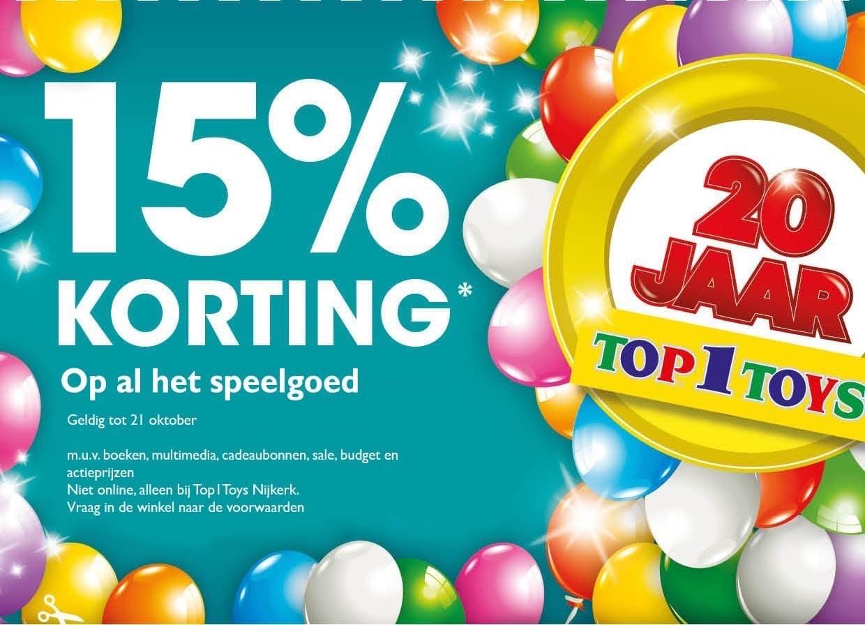 15% korting op al het speelgoed in diverse filialen || Top1Toys