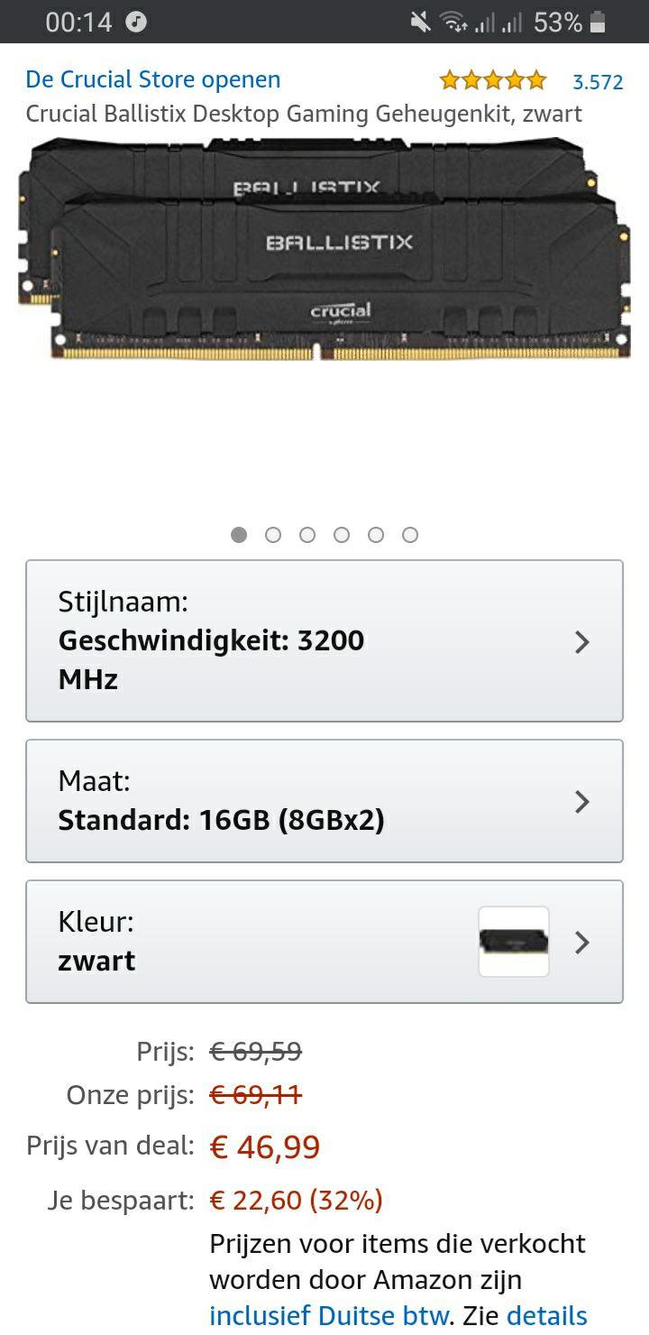 [Prime] Crucial Ballistix 16GB 2x8GB 3200Mhz