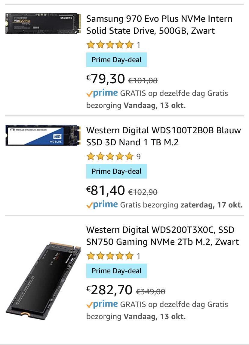 M.2 ssd diverse in de aanbieding (WD/Samsung/...)