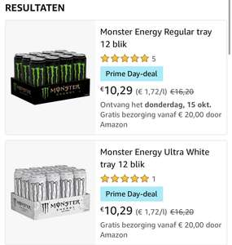 Monster Energy 12 blikken 0,85 euro per halve liter