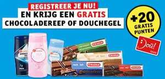Registreer nieuwe klantenkaart en krijg een gratis douchegel of chocoladereep @ Kruidvat