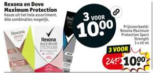 Rexona // Dove Maximum Protection 3 voor €10 [= -60%] @ Kruidvat