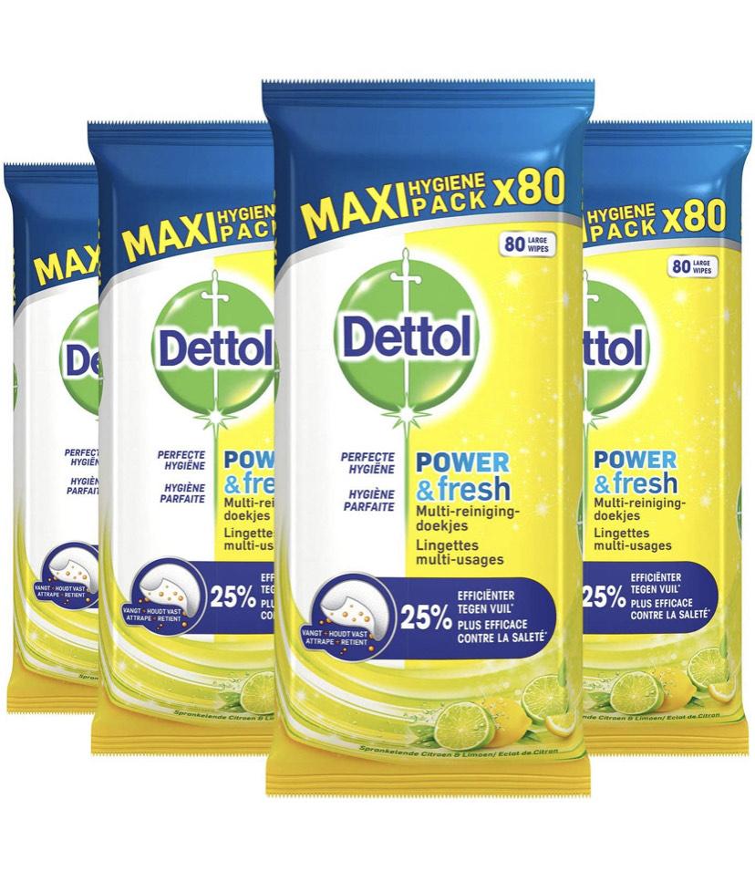 [PRIME NL] 4x 80 stuks Dettol Power & Fresh Citrus reinigingsdoekjes