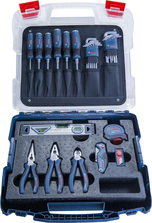 Bosch Professional professionele ambachtsliedenset (schroevendraaiers, tangen, rolmaat, waterpas, klapmes, 19 andere delen, in L-Case)