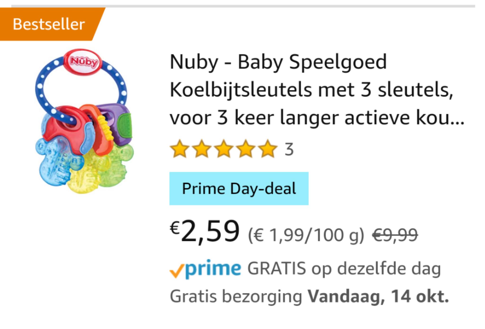 [prime] Nuby - Baby Koelbijtsleutels met 3 sleutels, voor 3 keer langer actieve koude - voor baby's vanaf 3 maanden - blauw