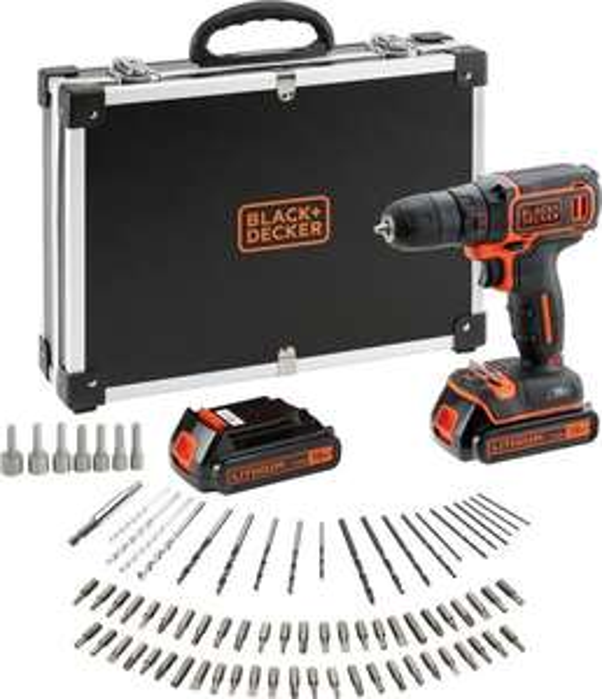 BLACK+DECKER BDCDC18BAFC - QW Accuboormachine kit - 18V - 80 accessoires - incl. 2 accu's en lader. Na cashback @bol.com