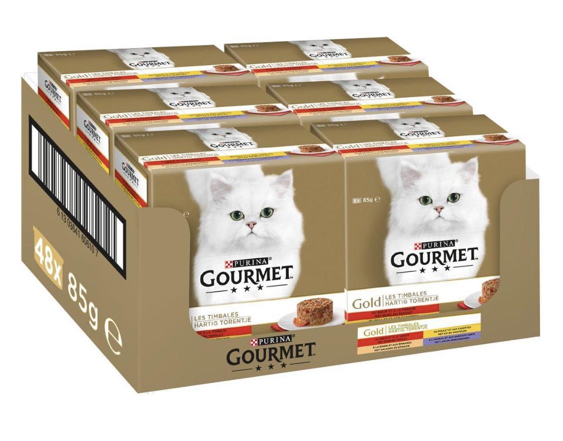 48 blikjes Gourmet Gold kattenvoer (2 smaken) @ Bol.com