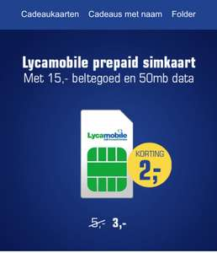 Lyca Mobile Sim met €15*+ 50 MB data voor maar €3,- met spaarpas
