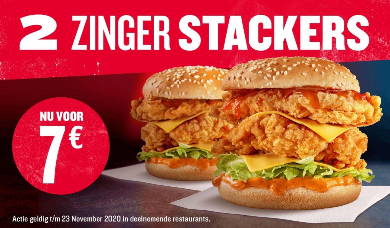 2 Zinger Stackers voor €7!
