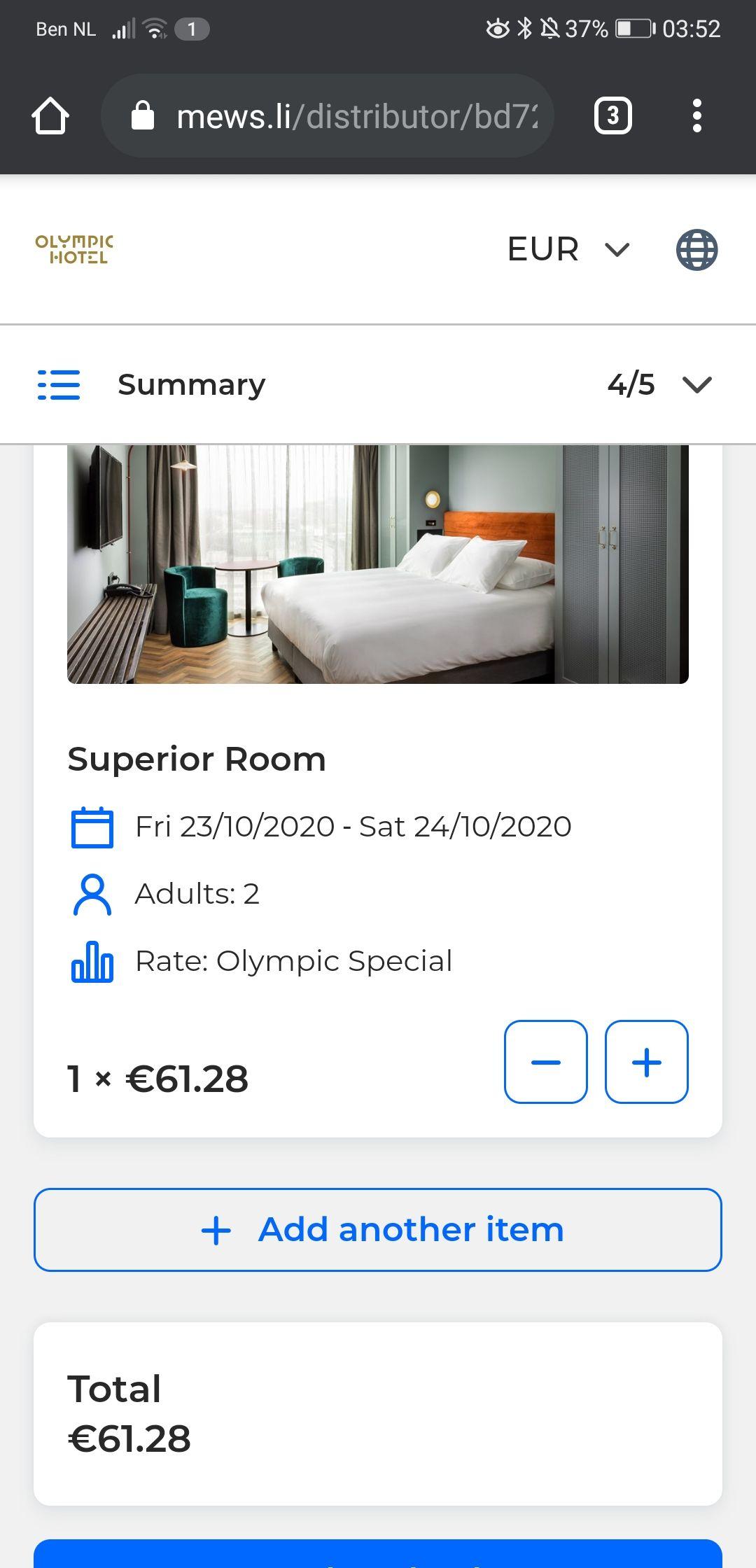 Hotelovernachting en diner vlakbij het Olympisch Stadion