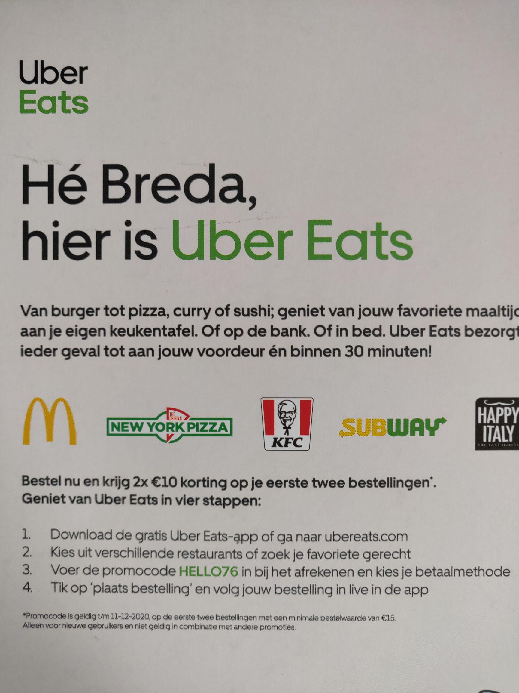 UBER Eats korting (lokaal: Breda)