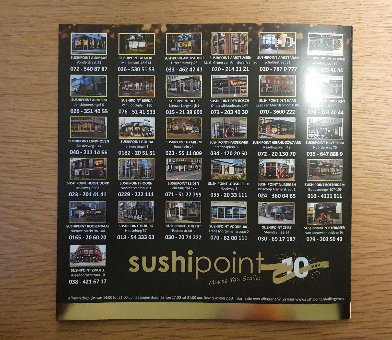 Sushi point €7,50 korting bij besteding €25
