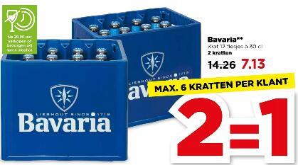 Bavaria bier (12x30CL) voor €3,57 per krat @ Plus