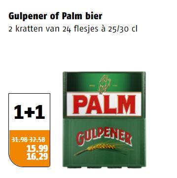 Krat Gulpener of Palm bier 1 + 1 gratis @Poiesz