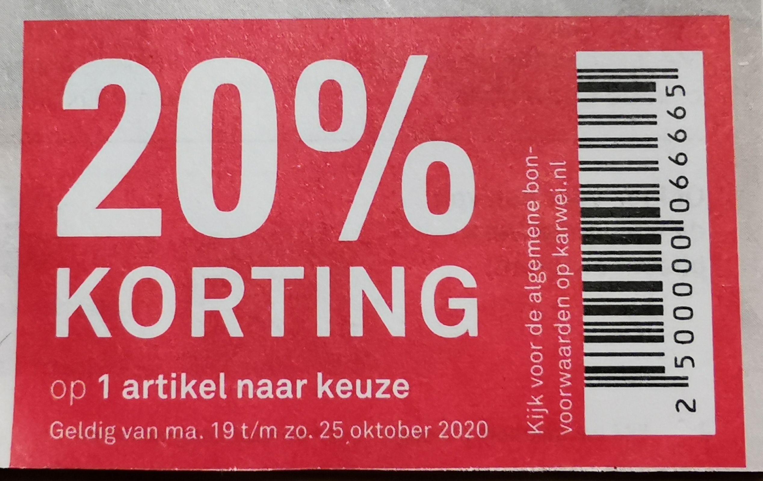 Van 19 t/m 25 oktober 20% korting op 1 artikel naar keuze