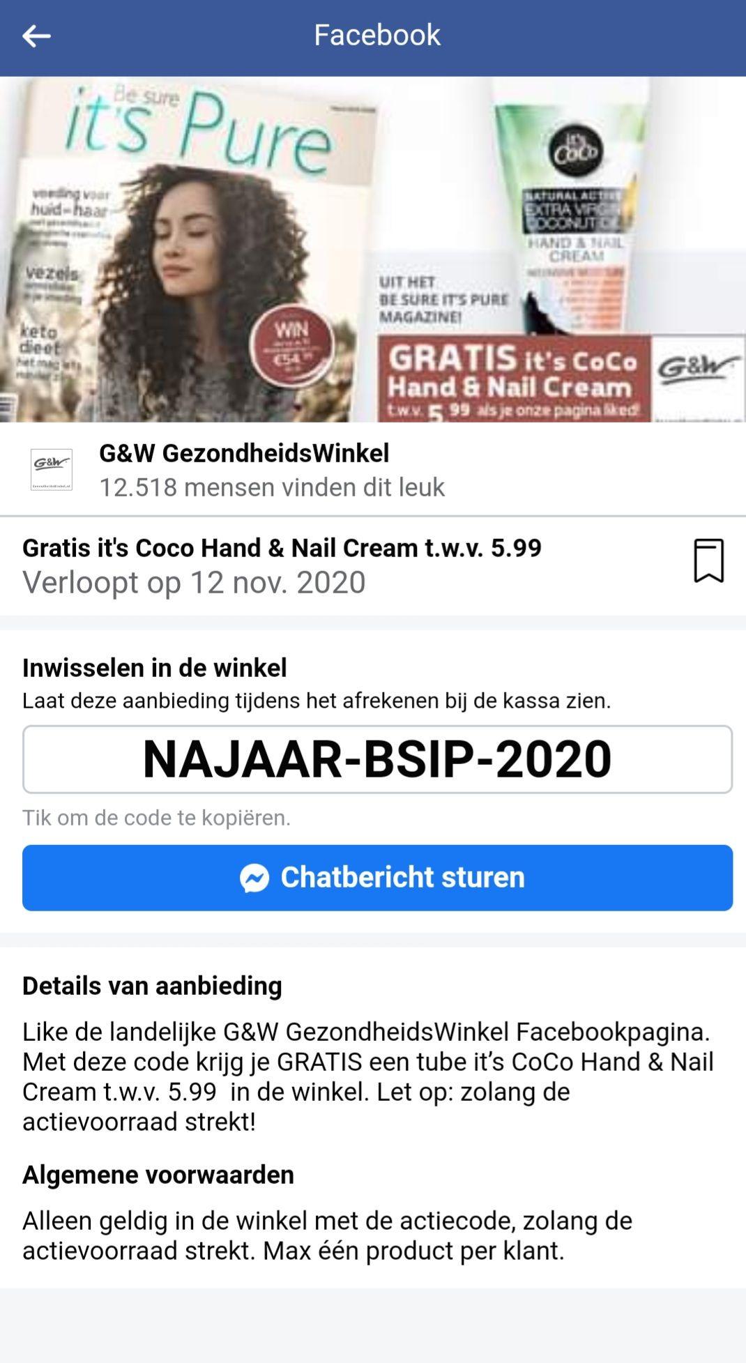 G&W Gezondheidswinkel - Gratis it's CoCo Hand & Nail Cream t.w.v. € 5,99