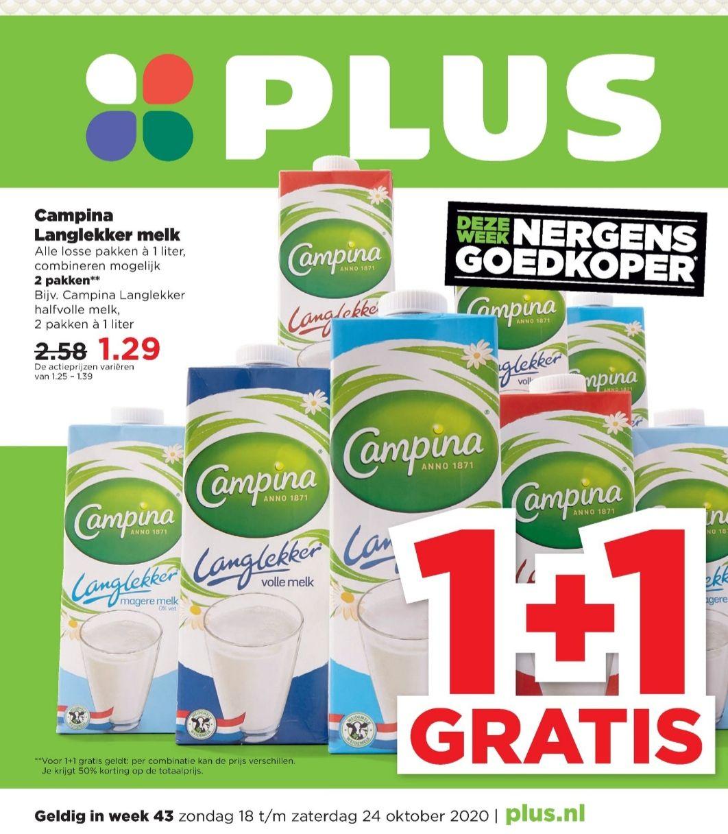 [Vanaf 18 Oktober] Campina melk 1+1 gratis @Plus