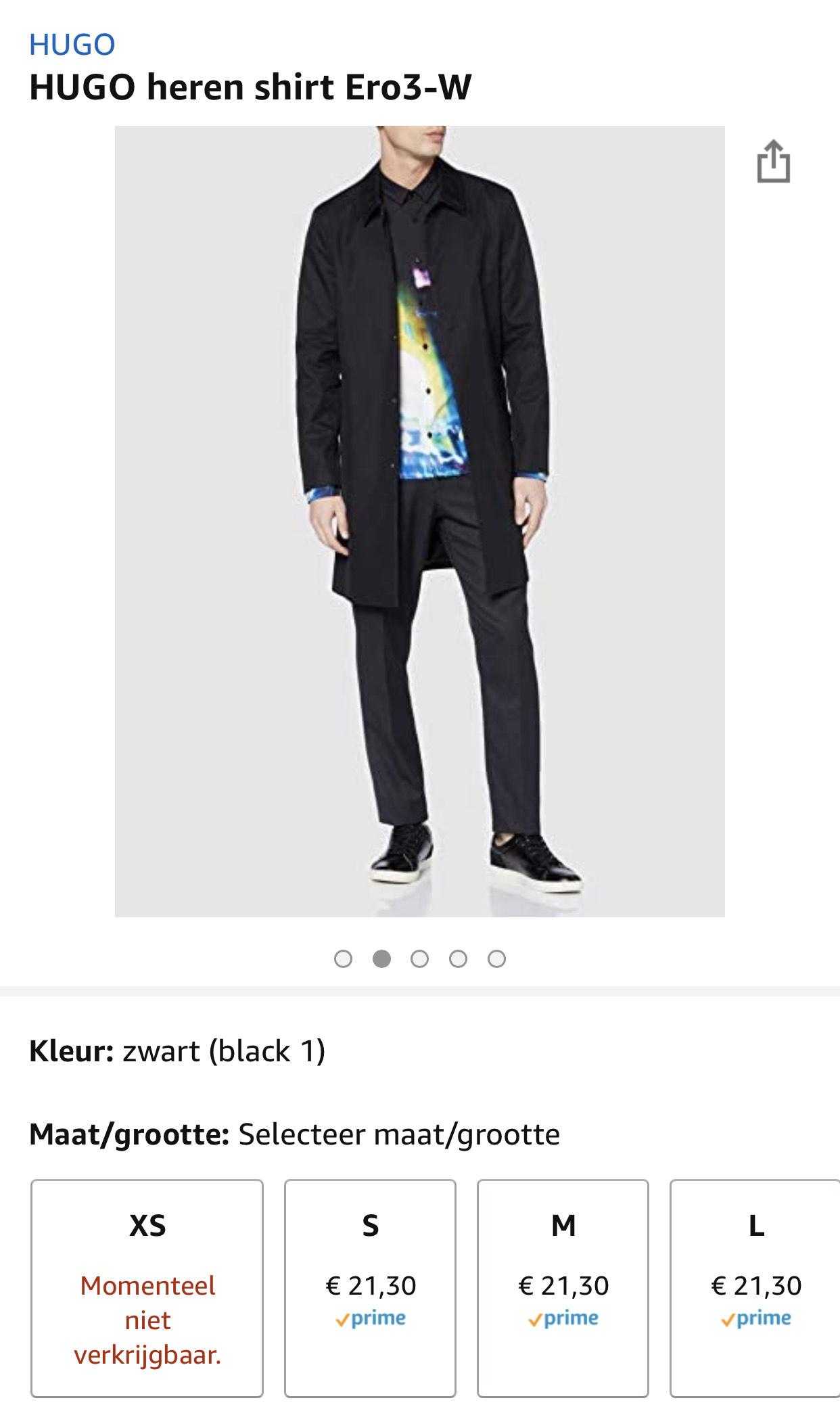 HUGO heren shirt Ero3-W voor €21,30