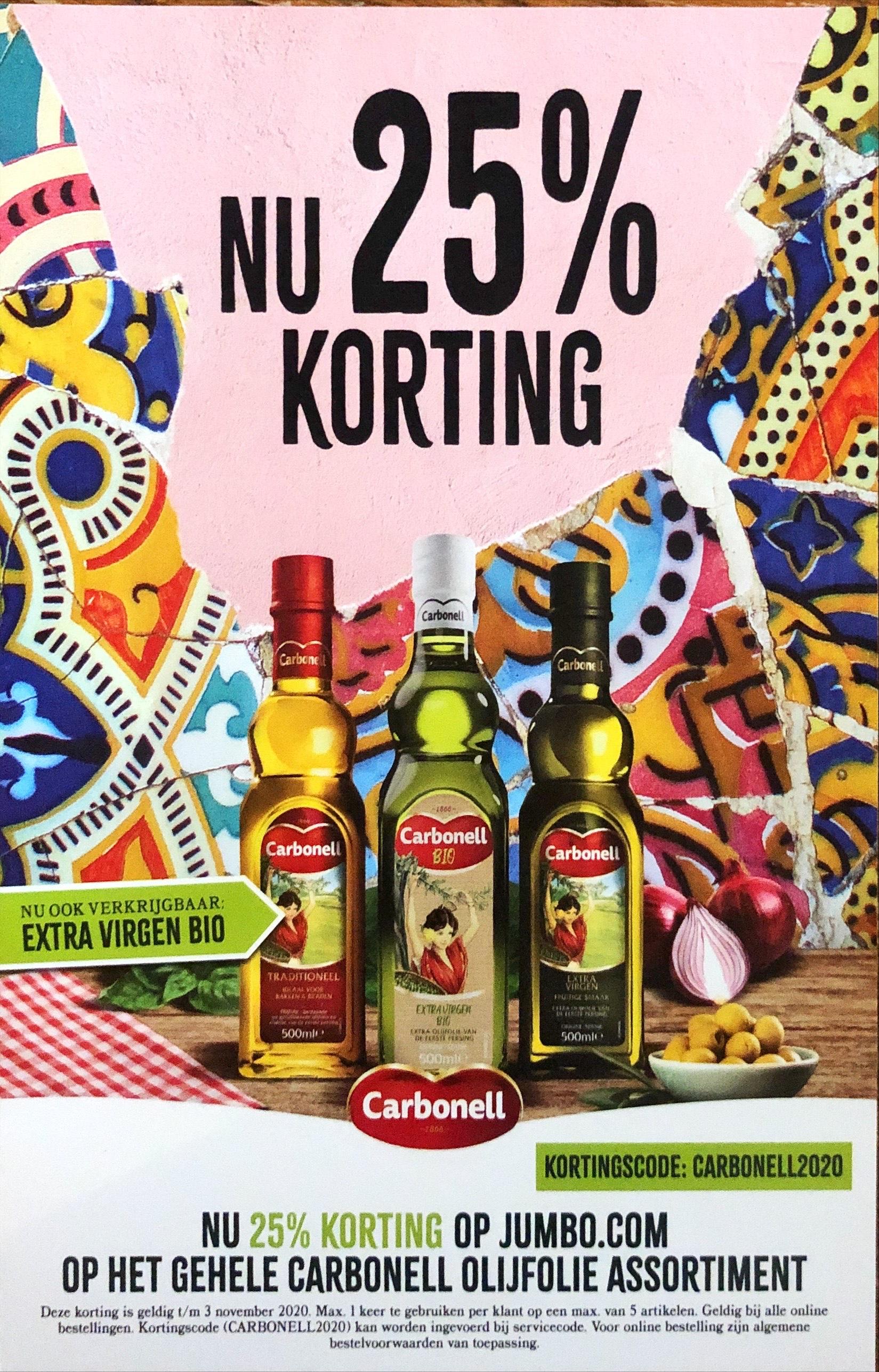 25% korting olijfolie Carbonell Jumbo