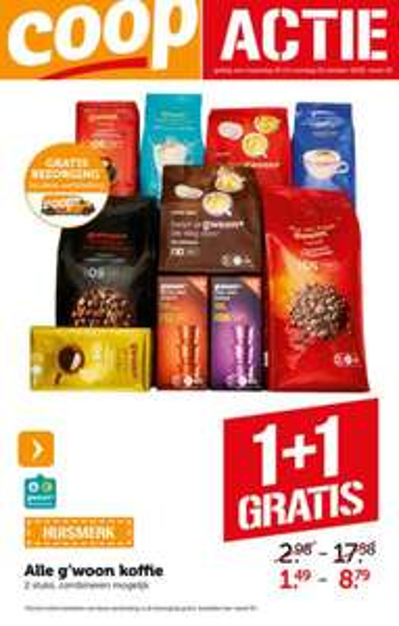 Alle g'woon koffie 1 + 1 gratis & gratis bezorging (t.w.v. €4,99) @ Coöp