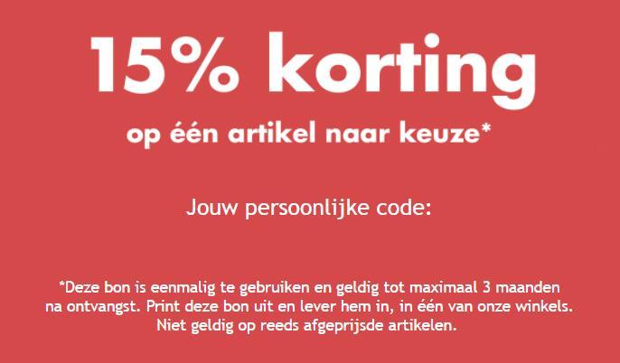 Code voor 15% korting op 1 artikel bij aanmelding nieuwsbrief @ wibra