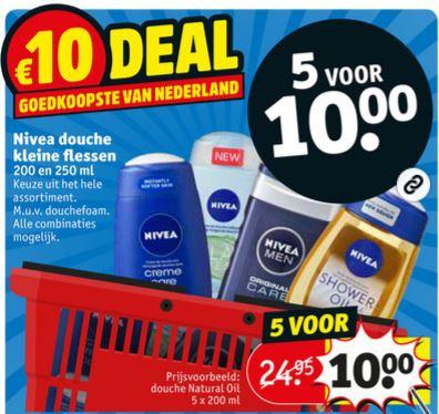 Nivea 5 voor €10 [ipv duurste = €28,45] @ Kruidvat